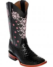 Ferrini Women's Black Python Print Cowgirl Boots - Square Toe