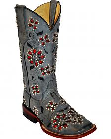 Ferrini Winter Blossom Cowgirl Boots - Square Toe