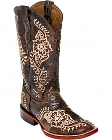 Ferrini Chocolate Wild Flower Cowgirl Boots - Square Toe