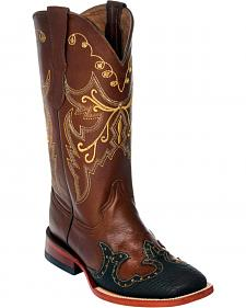 Ferrini Brown Wingtip Cowgirl Boots - Square Toe