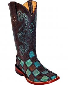 Ferrini Women's Black Patchwork Cowgirl Boots - Square Toe