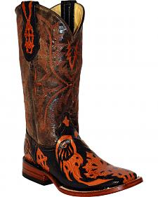 Ferrini Burnt Orange Embossed Cross Cowgirl Boots - Square Toe