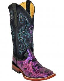 Ferrini Women's Violet Embossed Cowgirl Boots - Square Toe