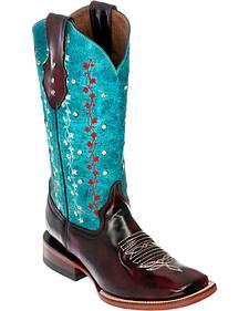 Ferrini Black Cherry Ivy Cowgirl Boots - Square Toe