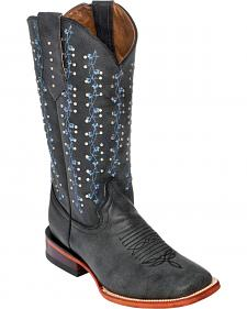 Ferrini Grey Ivy Cowgirl Boots - Square Toe