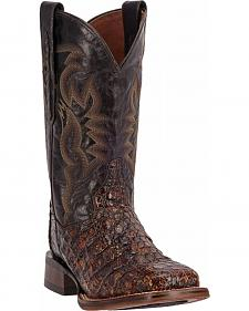 Dan Post Women's Everglades Caiman Chocolate Brown Exotic Western Boots - Square Toe