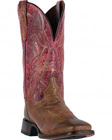 Dan Post Women's Tan and Pink Polly Western Boots - Square Toe