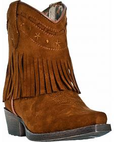 Dan Post Girls' Gingersnap Fringe Cowgirl Boots - Snip Toe