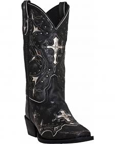 Laredo Silver Cross Cowgirl Boots - Square Toe