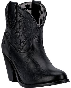 Dingo Womens Black Billie Cowgirl Boots - Round Toe