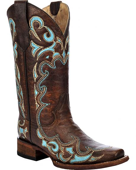 Circle G Women's Honey Embroidered Cowgirl Boots - Square Toe