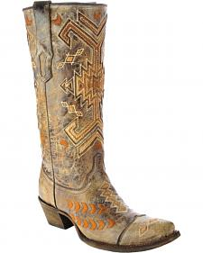 Corral Multicolored Jute Inlay Cowgirl Boots - Square Toe