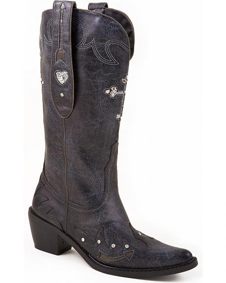 Roper Rhinestone Cross Inlay Cowgirl Boots - Pointed Toe