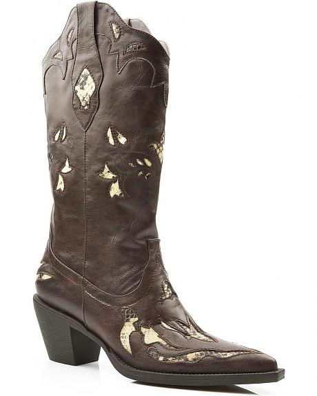 Roper Snake Print Inlay Cowgirl Boots - Pointed Toe
