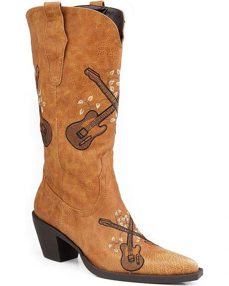 Roper Guitar Embroidered Cowgirl Boots - Pointed Toe