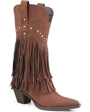 Roper Rhinestone Fringe Cowgirl Boots - Pointed Toe
