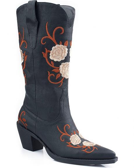 Roper Flower Embroidered Cowgirl Boots - Pointed Toe