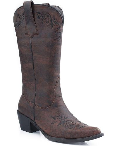 Roper Scroll Embroidered Cowgirl Boots Pointed Toe