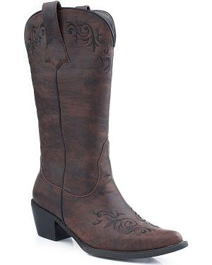 Roper Scroll Embroidered Cowgirl Boots - Pointed Toe