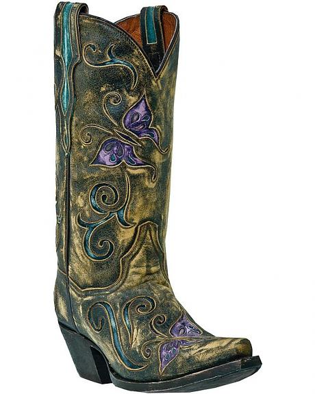 Dan Post Cambria Butterfly Inlay Cowgirl Boots - Snip Toe