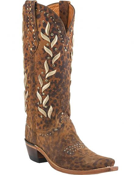 Lucchese Handcrafted 1883 Vine Studded Cowgirl Boots - Snip Toe