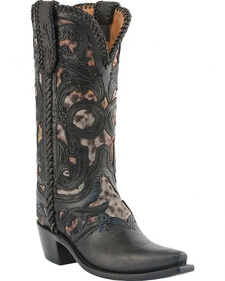Lucchese Handcrafted 1883 Hand Laced Leopard Print Inlay Cowgirl Boots