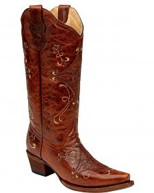 Circle G Diamond Embroidered Cowgirl Boots - Snip Toe