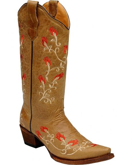 Circle g rose vine embroidered cowgirl boots snip toe