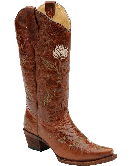 Circle G Single Rose Embroidered Cowgirl Boots - Snip Toe