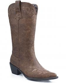 Roper Embroidered Faux Leather Cowgirl Boots - Pointed Toe