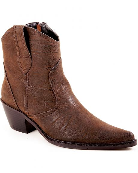 Roper Faux Leather Short Cowgirl Boots - Pointed Toe