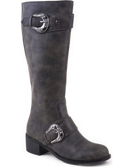 Roper Faux Leather Fancy Buckle Harness Boots - Round Toe