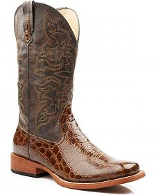 Roper Croc Print Faux Leather Cowgirl Boots - Square Toe