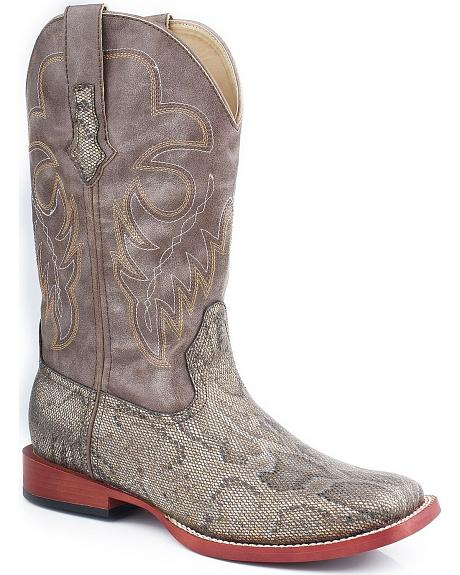 Roper Metallic Snake Print Faux Leather Cowgirl Boots - Square Toe