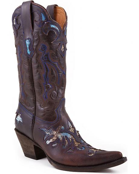 Stetson Python Inlay Cowgirl Boots - Pointed Toe
