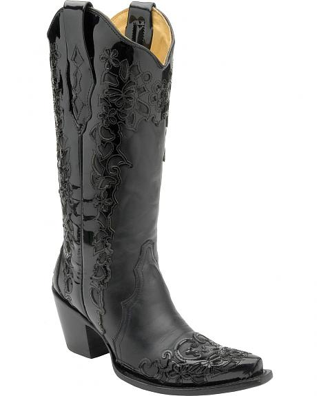 Corral Patent Overlay Cowgirl Boots - Snip Toe