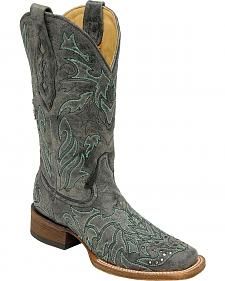 Corral Studded Cross Overlay Cowgirl Boots - Square Toe