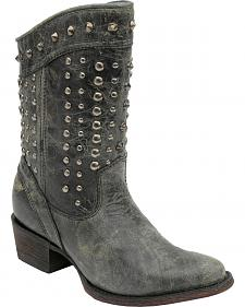 Corral Studded Short Cowgirl Boots - Round Toe