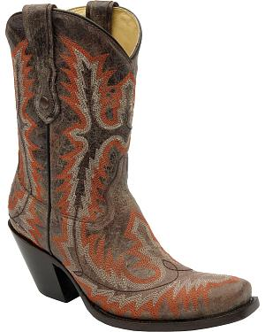 Corral Stitched Short Cowgirl Boots - Square Toe