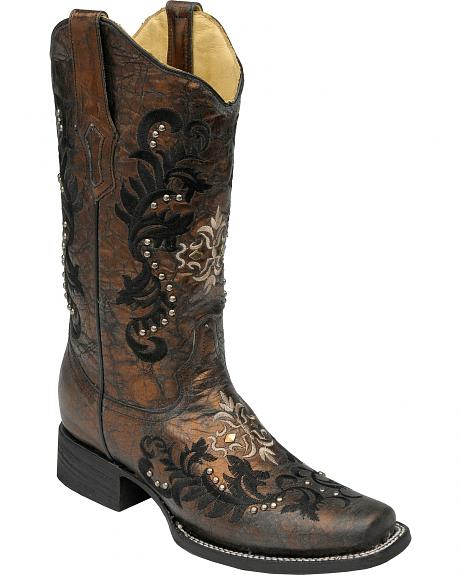 Corral Metallic Embroidered & Studded Cowgirl Boots - Square Toe