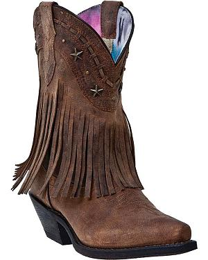Dingo Hang Low Fringe Short Cowgirl Boots - Snip Toe