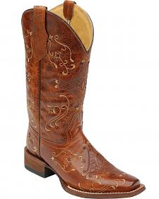 Circle G Diamond Embroidered Cowgirl Boots - Square Toe