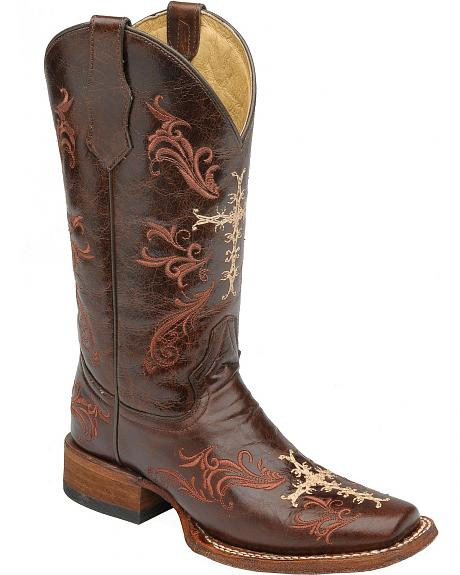Circle G Cross Embroidered Cowgirl Boots - Square Toe