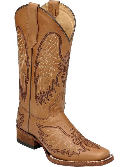 Circle G Wing & Cross Embroidered Cowgirl Boots - Square Toe