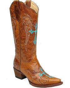 Circle G Retro Wing & Cross Embroidered Cowgirl Boots - Snip Toe
