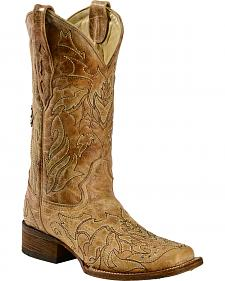 Corral Back Cross & Crystals Cowgirl Boots - Square Toe