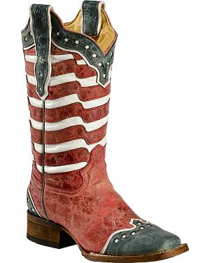 Corral American Flag Distressed Cowgirl Boots - Square Toe