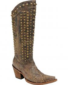 Corral Tall Studded Cowgirl Boots - Snip Toe