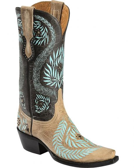 Lucchese Handcrafted 1883 Laurel Leaf Embroidered Cowgirl Boots - Snip Toe
