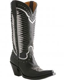 Lucchese Handcrafted 1883 Twisted Leather Studded Cowgirl Boots - Snip Toe